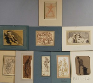 Nine Unsigned Figure Drawings:      Italian School, 17th/18th Century, Standing Man in Uniform