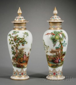 Sold for: $34,365 - Pair of Chinoiserie Decorated Bristol Glass Vases and Covers