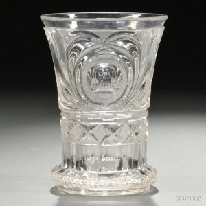 German Cut Glass Spooner with Coin