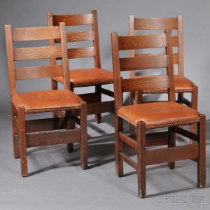 Awesome Four Gustav Stickley Dining Chairs