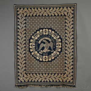"Woven Wool and Cotton Coverlet Depicting the ""Great Seal"" of the United States"