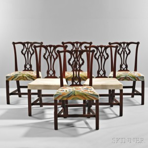 Set of Six Carved Mahogany Side Chairs