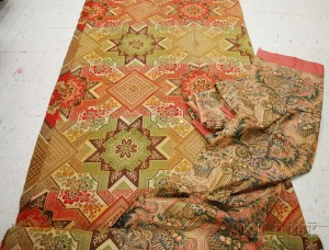 Ingrain Carpet and a Set of Six Printed Chintz Curtain Panels