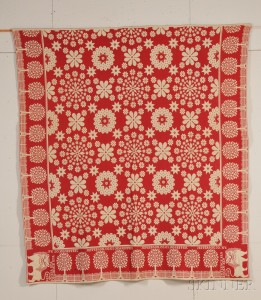 Red and White Woven Wool and Cotton Coverlet