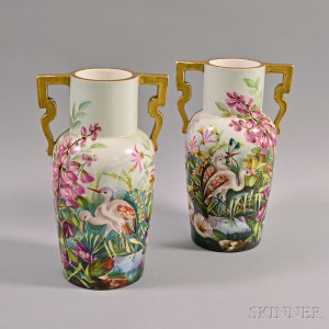 Pair of Continental Hand-painted Porcelain Vases