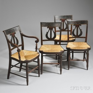 Set Of Four Classical Paint Decorated Lyre Back Chairs