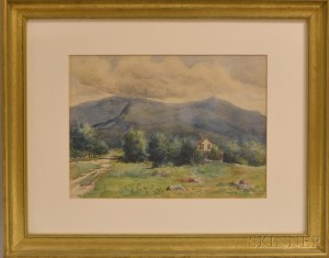Anna R. Countryman (American, b. 1863)      Summer Landscape with Farmhouse and Mountains