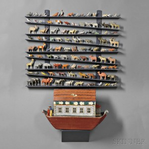 Folk Art Painted Noah's Ark with Approximately 180 Animals