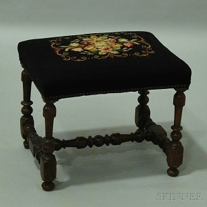William and Mary Turned and Needlepoint-upholstered Footstool