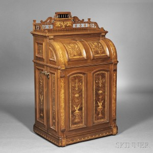 Sold for: $43,050 - Joseph Moore Renaissance Revival Marquetry-inlaid Walnut Office Queen   Cabinet Secretary
