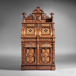 Sold for: $58,425 - Wooton Renaissance Revival Walnut and Bird's-eye Maple Superior Grade Cabinet Secretary
