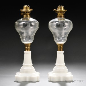 Pair Of Colorless And Pressed Milk Glass Kerosene Lamps With Eagle Design