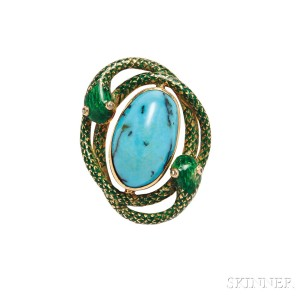 Antique Gold, Turquoise, and Enamel Brooch