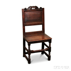 Charming Carved And Turned Oak Wainscot Side Chair