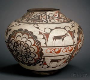 Sold for: $64,625 - Southwest Polychrome Pottery Olla