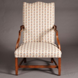 federal carved and upholstered mahogany lolling chair