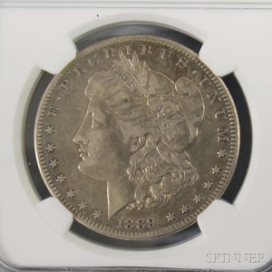 Sold for: $2,460 - 1889-CC/Carson City Morgan Dollar NGC XF40 Rated.     Estimate $2,000-3,000