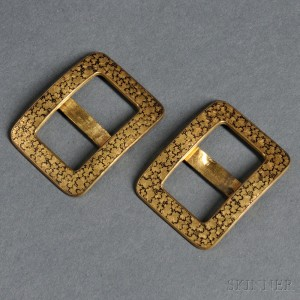 Pair of Japanese Brass and Niello Buckles
