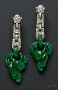 Sold for: $118,500 - Art Deco Platinum, Jadeite, and Diamond Earpendants, Cartier