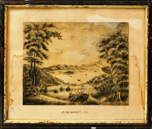 Framed Charcoal Drawing Le Lac Nicolet P.Q.