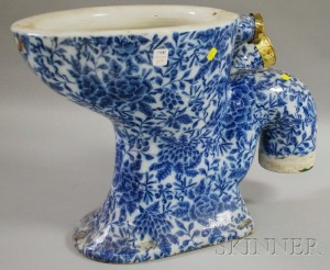 "Doulton & Co. ""The Simplicitas"" Blue and White Floral Transfer-decorated Ceramic Toilet"
