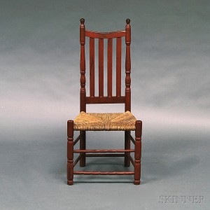 Red-painted Banister-back Side Chair