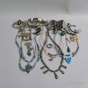 Group of Sterling Silver and Turquoise Southwestern and Native American Jewelry