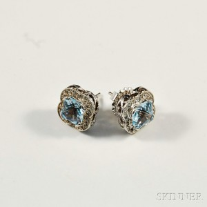 14kt White Gold, Diamond, and Blue Topaz Earstuds