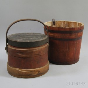 Red-painted Firkin and Pail