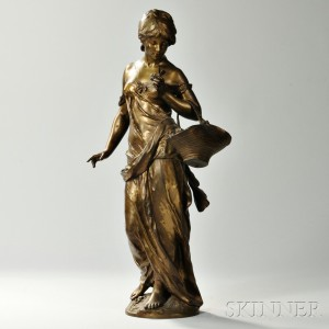 After Auguste Moreau (French, 1834-1917)       Bronze Model of a Flower Seller
