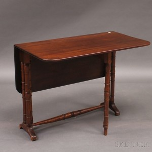 Victorian Mahogany Tuck Away Table And Federal Japanned Drop Leaf Table