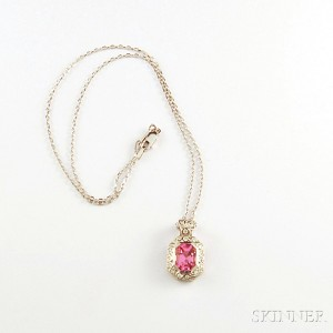 Platinum, Pink Spinel, and Diamond Enhancer Pendant