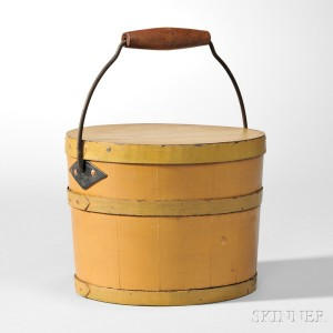 Shaker Yellow-painted Covered Pail