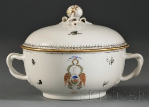 Sold for: $22,515 - Order of the Cincinnati Chinese Export Porcelain Covered Bowl