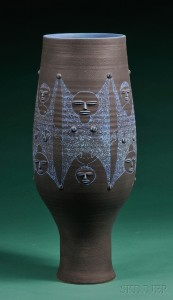 Sold for: $8,888 - Edwin and Mary Scheier Large Decorated Pottery Vase
