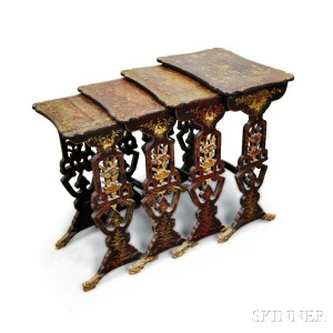 Set Of Four Chinese Export Lacquered Nesting Tables