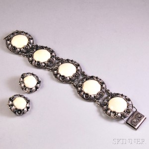 Niles E. From Sterling Silver and Bone Bracelet and Earclips