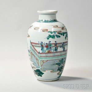 Sold for: $30,750 - Enameled Porcelain Jar