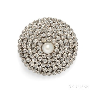 Antique Pearl and Diamond Target Brooch
