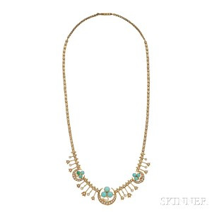 Antique Gold, Turquoise, and Pearl Fringe Necklace