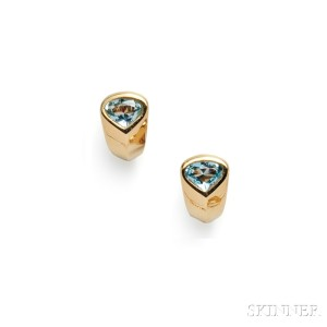 18kt Gold and Blue Topaz Earclips, Marina B.