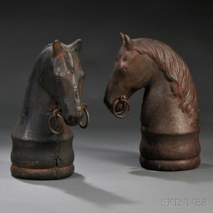 Pair of Cast Iron Horse-head Hitching Post Finials