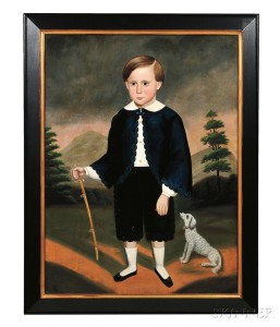 Attributed to Joseph Goodhue Chandler (Massachusetts/New York, 1813-1884) Portrait of a Boy Holding a Sword Accompanied by His Dog. Uns