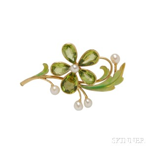 Art Nouveau 18kt Gold, Peridot, and Freshwater Pearl Flower Brooch