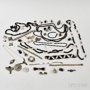 Group of Marcasite and Black Bead Jewelry