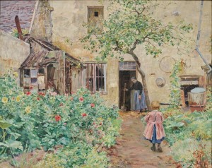Albert Scott Cox (American, 1863-1920)      Mother and Child in a French Cottage Garden