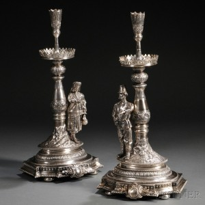 Pair of Russian Figural .875 Silver Candlesticks