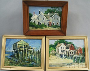 Daisy Marguerite Hughes (American, 1883-1968)      Three Framed Works: Old Timbers, Wharf Houses