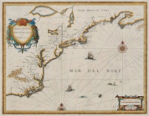 North American Coast, Nova Scotia to Virginia. Johannes Janssonius Nova Anglia, Novum Belgium et Virginia.