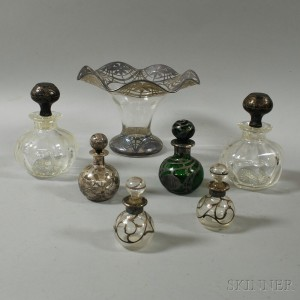 Seven Mostly Silver Overlay Glass Vessels